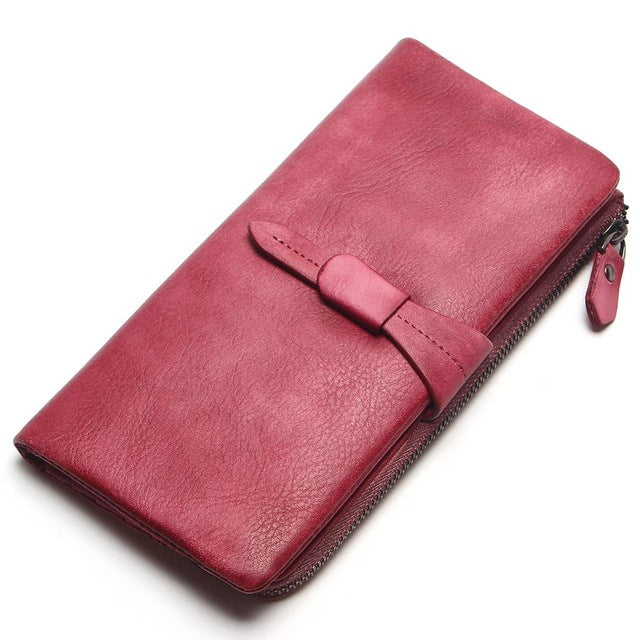 TAUREN Wallet New Vintage Solid Color Wallet Women Genuine Leather Wallet Brand Women Purse Long Purse Coin Purse Money Bag