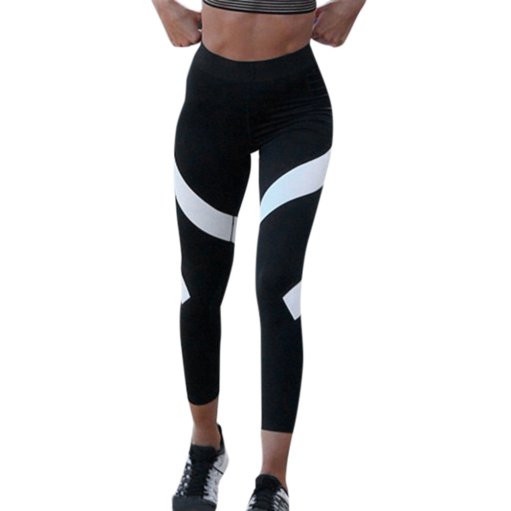 Women Splice Skinny Leggings Push Up High Waist Fitness Pants Quick-Drying Elastic Trousers Leggins