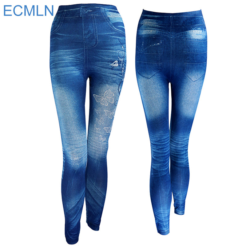 New 2017 Women Autumn Jeans Leggings Skinny Slim Thin High Elastic Waist Pencil Pants Black Denim Leggings For Women Plus Size