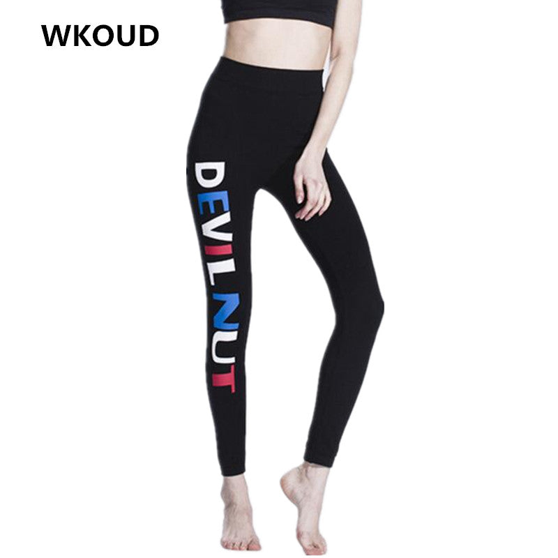 WKOUD Letters Leggings For Women Slim High Waist Printed Pants Women's Vintage Elastic Leggings Footless Trousers P8134