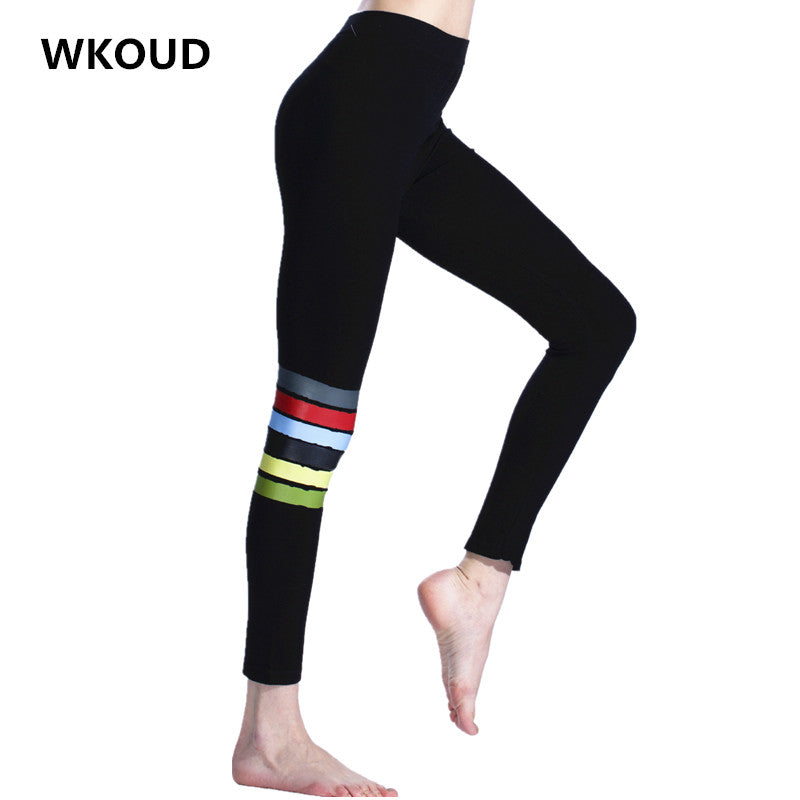 WKOUD Skinny Seamless Leggings For Women Slim High Waist Printed Pants Vintage Elastic Leggings Fashion Footless Trousers P8138