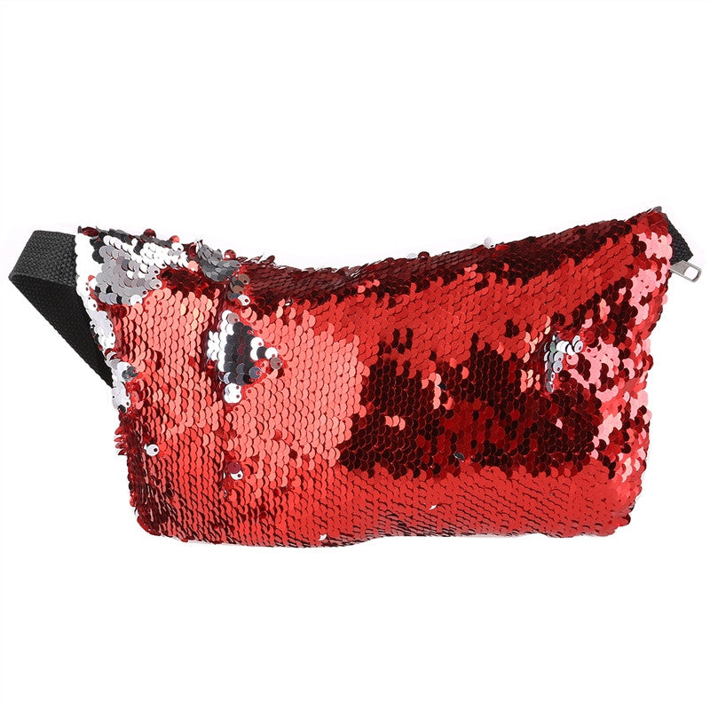Double Color Sequins Waist Bag Casual Outdoor Sports Bag
