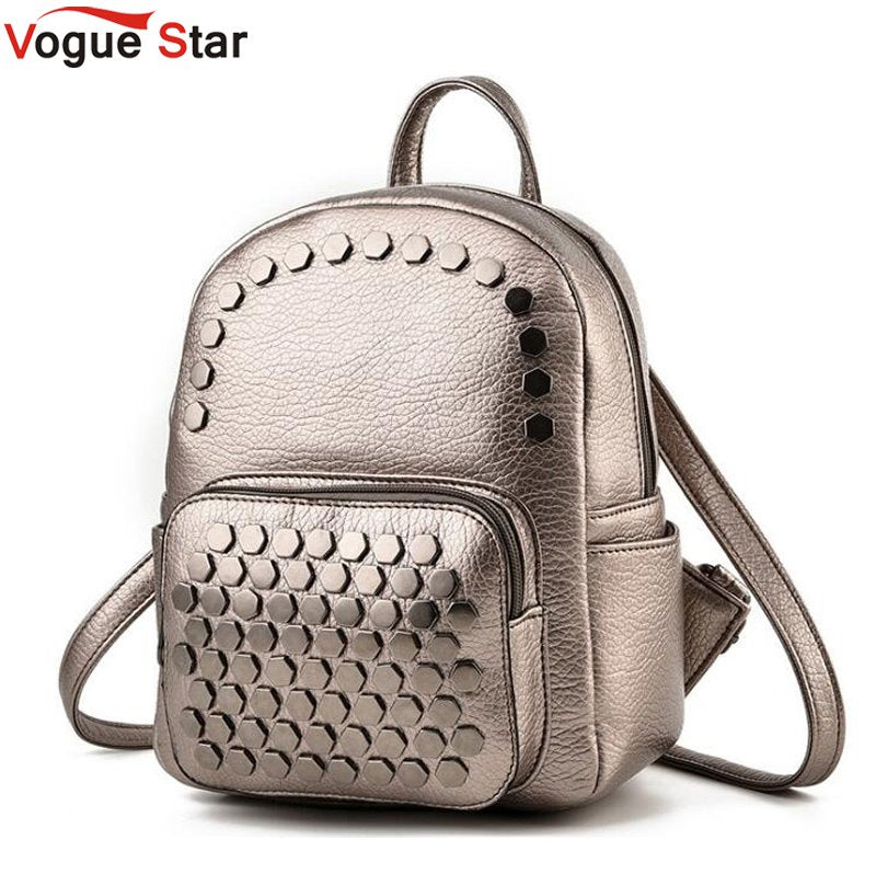 Vogue Star Women Backpacks Fashion Bags High Quality Rivet Female Shoulder Bag PU Leather Backpacks For Girls Women Bag LB437
