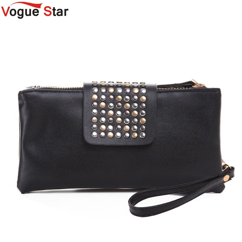 Vogue Star 2018 New Arrive Hot selling PU Leather fashion designer Rivet bag  women wallet Clutch  Bag  Foctory Price A17