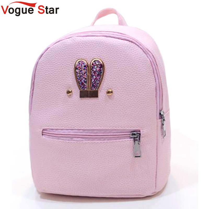 Fashion 2018 New backpack  PU leather Women bag Sweet girl mini shoulder bag Cute rabbit ear Sequins rivet small backpack LS536