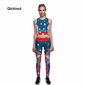 Qickitout 2018 Popular Women Summer Sleeveless Long Pants Sets Digital Print European American Gifts Casual Sporting Leggings
