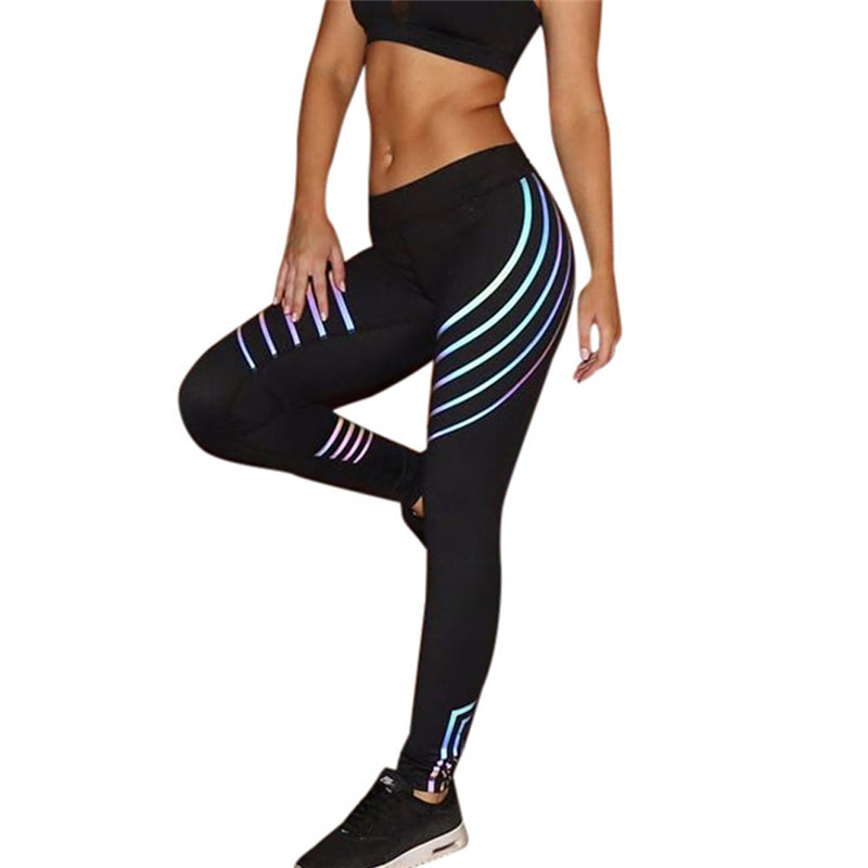 Laser Glow in the Dark fitness high waist elastic leggings Women High Waist Fitness Leggings