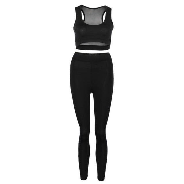 Two piece set Women Mesh Patchwork See Through Skinny High Waist Leggings Elastic Long Pants+Tops Set