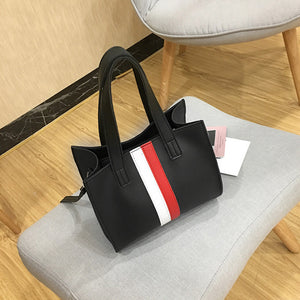 Woman Tote Casual Bags Crossbody Bag Stripe Leather Handbag Shoulder Bag