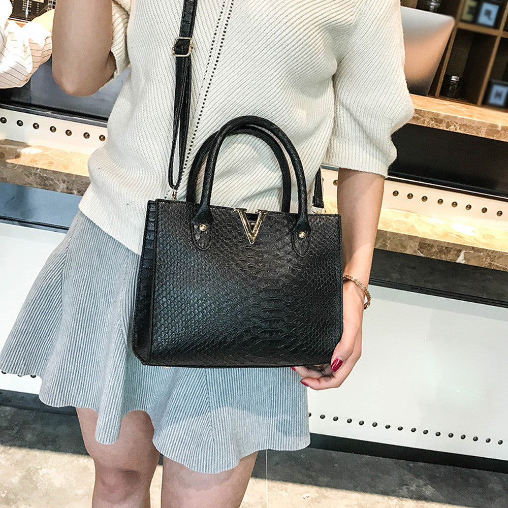 Woman Crossbody Bags Leather  Handbag Alligator Pattern Shoulder Bag