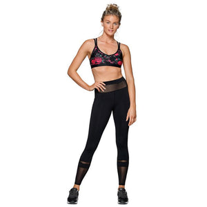 Fashion See Through Fitness High Waist Elastic Leggings Black Pants Workout Clothes