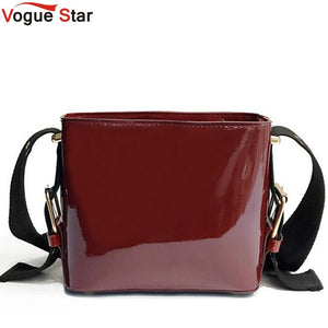 Bright Solid Patent Leather Women Fashion Bucket Bag Ladies Simple Luxury Handbag Casual Shoulder Messenger Bag Sac A Main LB541