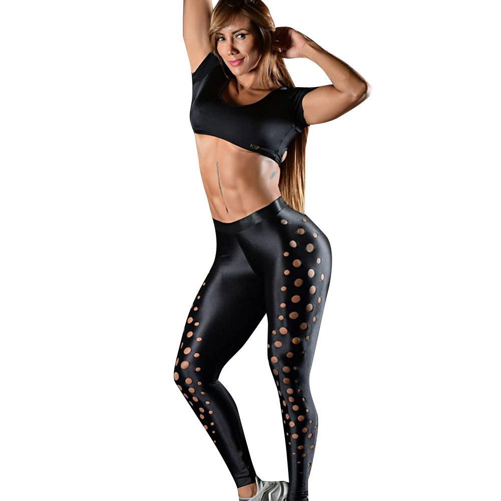 Women's Hollow Sports Yoga Workout Gym Fitness Leggings Pants Athletic Clothes