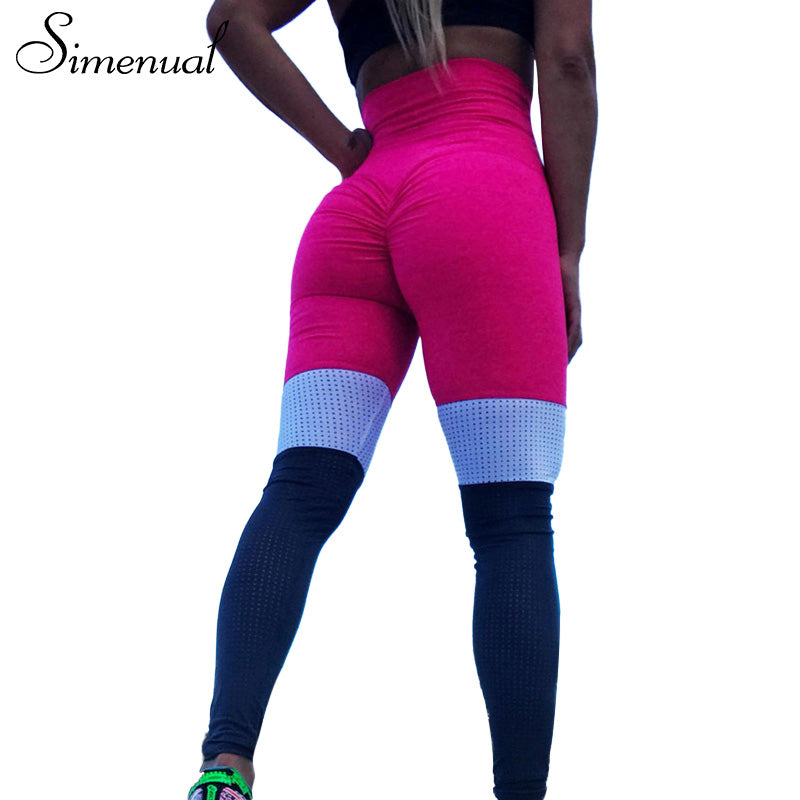 Simenual Push up ruched high waist leggings sportswear for women block patchwork female pants bodybuilding sexy sporting legging