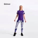Qickitout Chinese style pants women leggings casual short t-shirts long pants suits one sets dark blue sexy suits for fitness