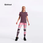Qickitout women suits pink striped casual leggings short t-shirts long pants suits sets summer Fitness suite can drop shipping