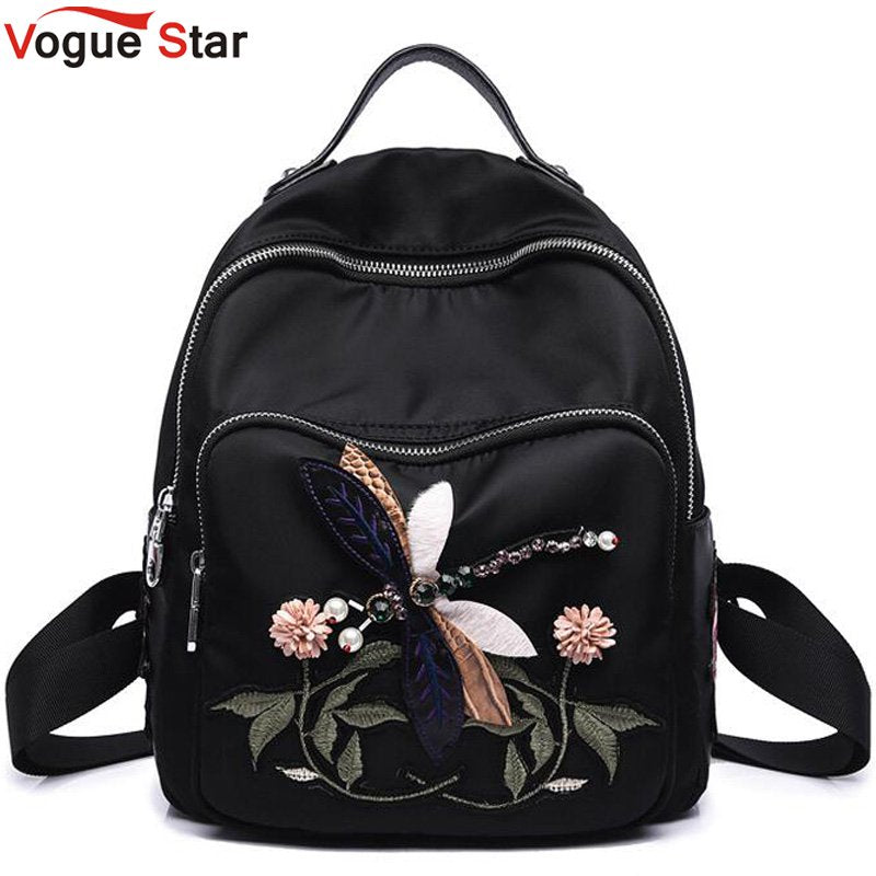 Handmade Embroidery Flower Women Fashion Backpacks School Bags for Teenage Girls Black Rhinestones Nylon Female Backpack LB657