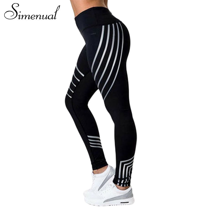 Simenual Harajuku stripe 2018 jeggings leggings for women push up bodybuilding sexy female legging sportswear slim women's pants