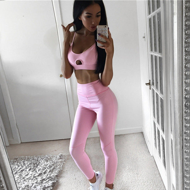 Set Women Yoga Running Leggings Skinny Vest Pants Stretch Trousers