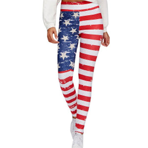 New Fashion US America National Flag Printed Fitness High Waist Legging