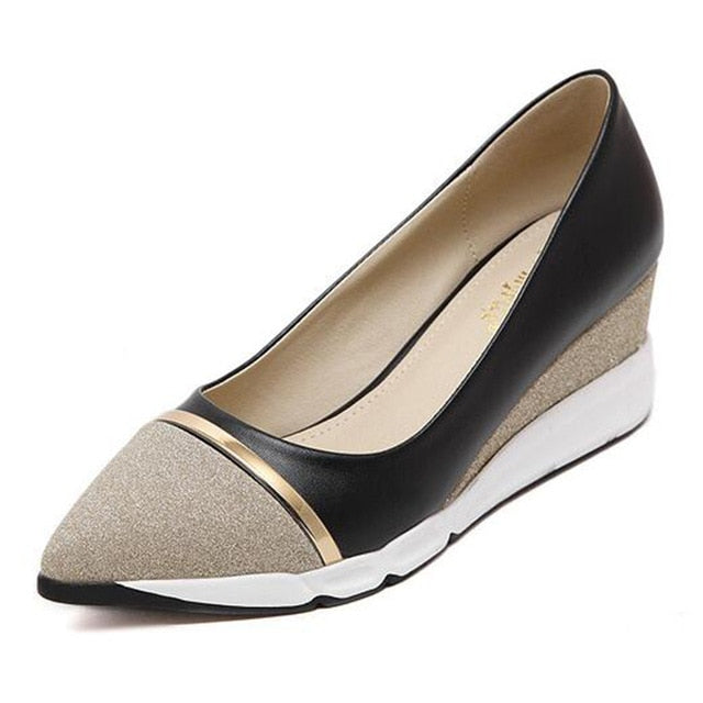 HEE GRAND Women's Wedges Pumps Women Pointed Toe Solid Slip-on Shoes