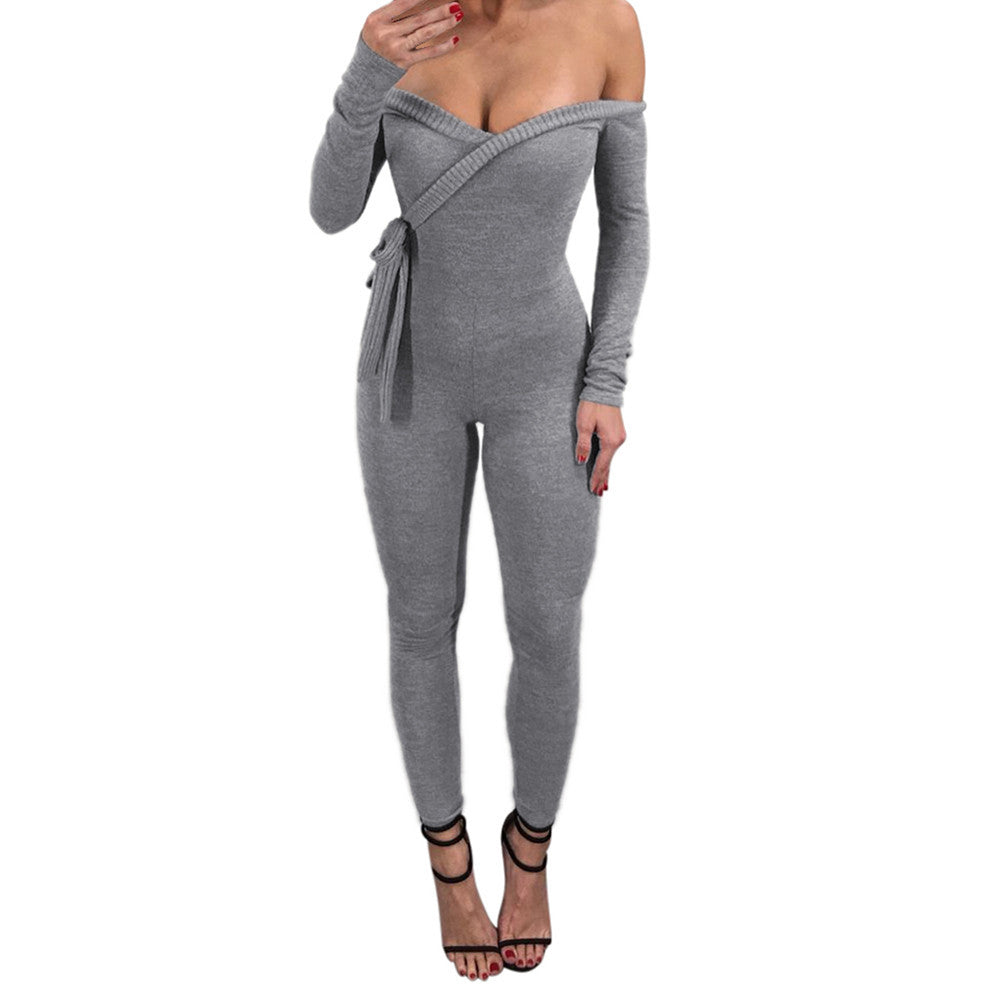 Women Long Sleeve Deep V Off Shoulder Sexy Skinny Slim Jumpsuit Bodysuit
