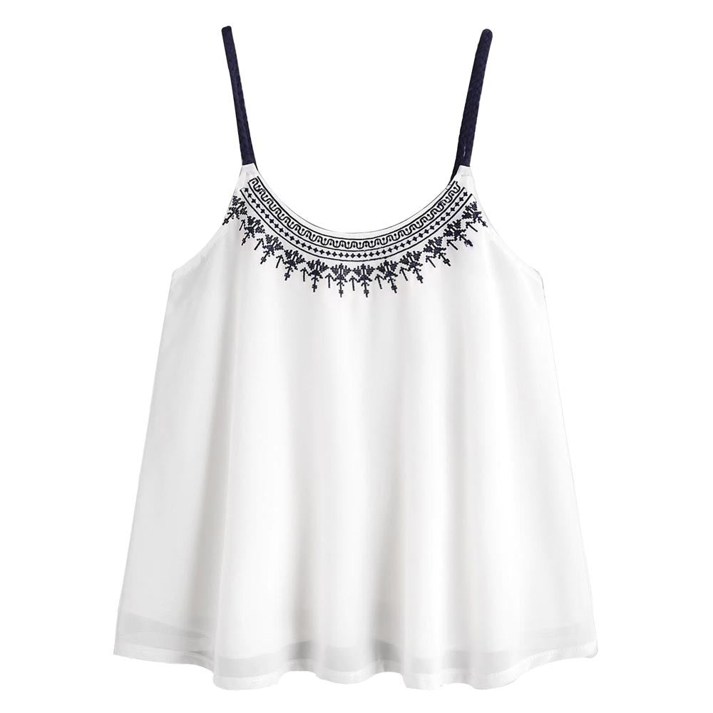 Women Sleeveless Tank Tops Embroidered Chiffon Cami Top Blouse