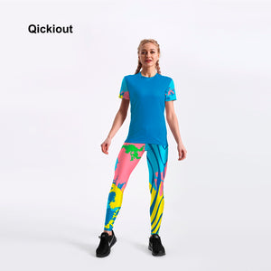Qickitout Fashion New Arrival 2018 Drop Shipping Women Summer Suits Casual Short T-Shirt  Leggings Long Pants 8 Styles Plus Size