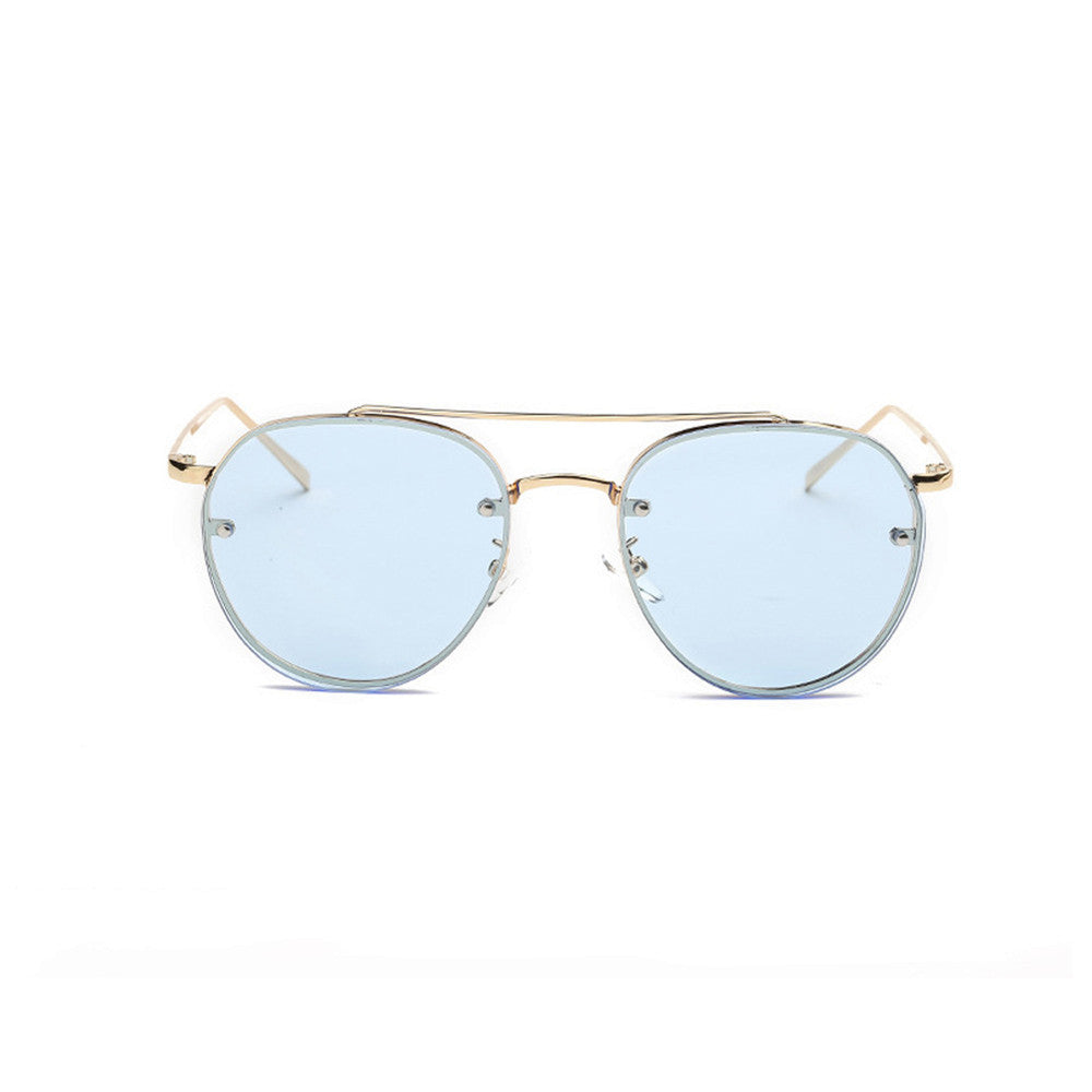 Women Fashion Circular Sunglasses Metal Frame Sunglasses Brand Classic Tone Mirr