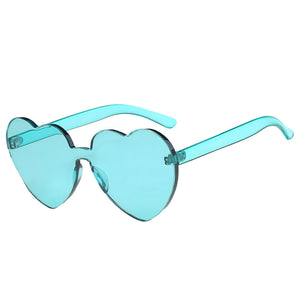 Women Fashion Heart-shaped Shades Sunglasses Integrated UV Candy Colored Glasses