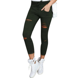 Women Skinny Ripped Pants High Waist Stretch Slim Pencil Trousers