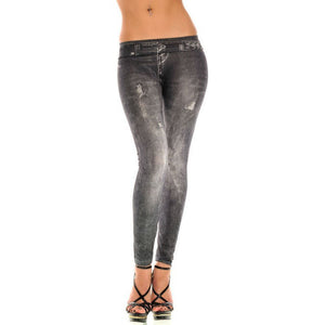 Women Ripped Trouser Jeggings Stretchy Slim Leggings Fashion Skinny Pants