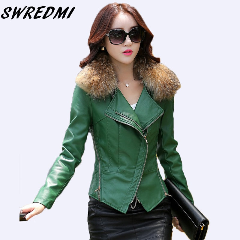 Leather Jacket Slim Motorcycle Outerwear