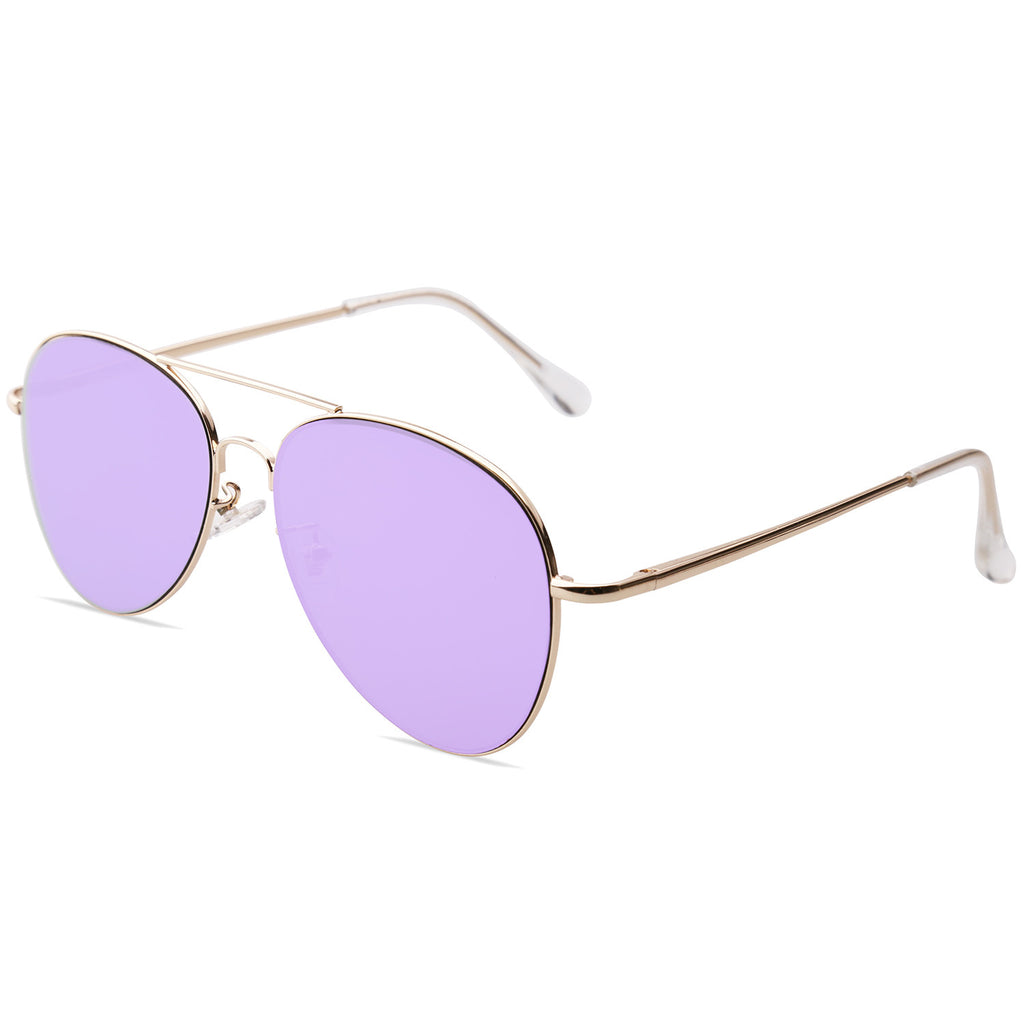 SojoS Classic Aviator Mirrored Flat Lens Sunglasses Metal Frame with Spring Hinges SJ1030