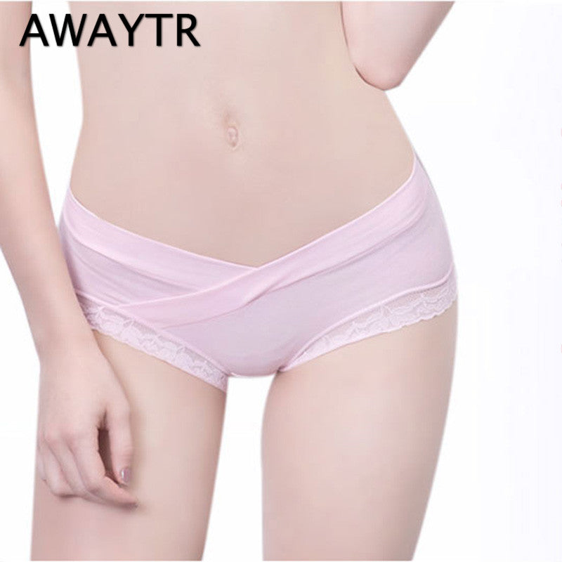 AWAYTR Pure Cotton V-Shaped Low Waist Underwear Women Pregnant Lace Panties Pregnancy Briefs High Quality Tanga Seamless Panties
