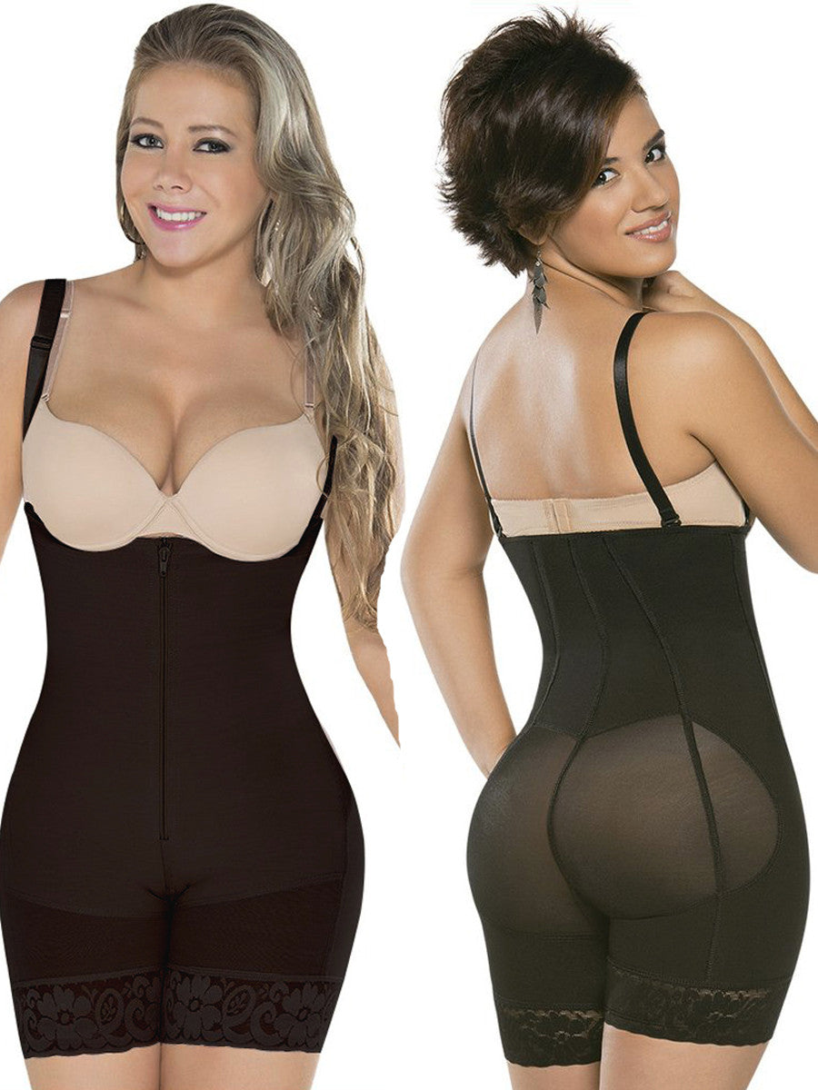 Topmelon Women's Full Body Shaper Corset Briefer Lace Bodysuit Slimming Shapewear