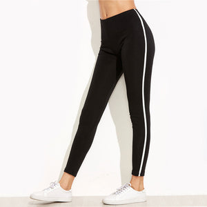 Dotfashion Black Striped Side Leggings 2017 Ladies Ankle-Length Skinny Bottoms Women Mid Waist Casual Leggings