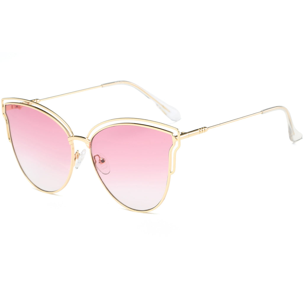 Womens Fashion Double Wire Flash Mirrored Lens Cat Eye Sunglasses SJ1049