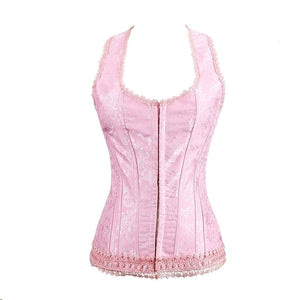 Topmelon  Sexy Girl Halter Lace Up Boned Corset Top With Strap Slimming Outwear Lace Print Corsets Bustier Waist  Cincher 623