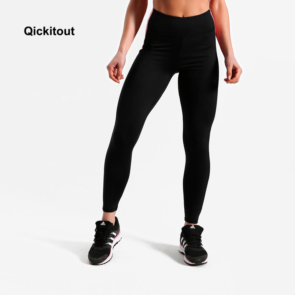 Qickitout Patchwork Leggings Women Summer Pants High Waist Pink Leggings Fitness Exercise Long Pants Sexy Leggings