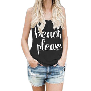 Women  Crop Tops Vest Print Letter Sleeveless Tank Tops Blouse T-Shirt