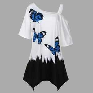 Large Size Women Butterfly Printing T-Shirt Short Sleeve Casual Tops Blouse