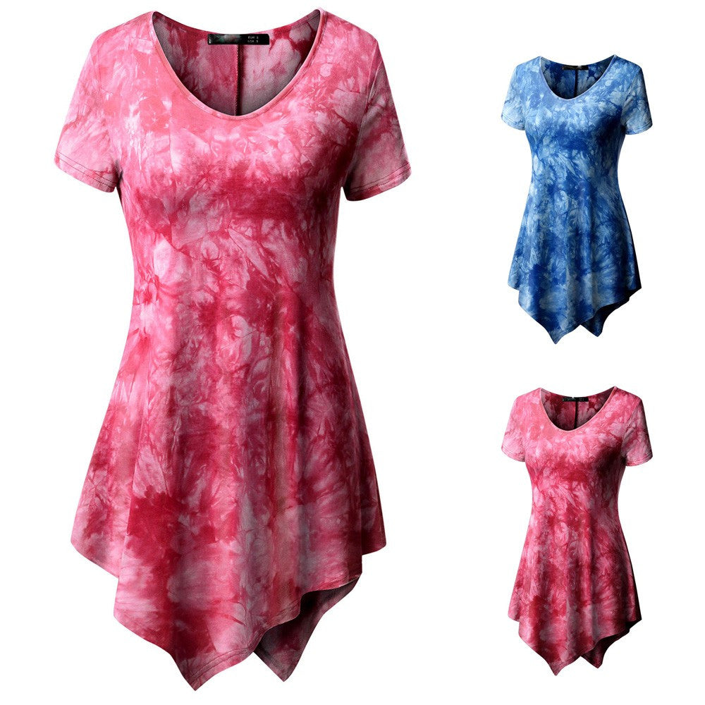 Women's Casual T-shirt O-neck Blouse Printed Short Sleeve Irregular Tops  Plus