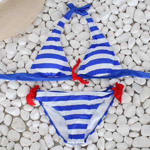 Women Bikini Set Striped Swimsuit Swimwear Beachwear Bathing Suit