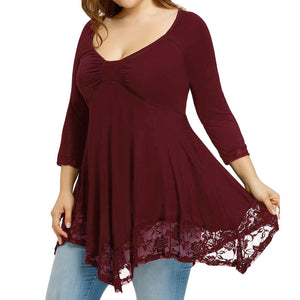 Large Size Women Lace Shirt Long Sleeve Casual Long Shirt Tops Blouse