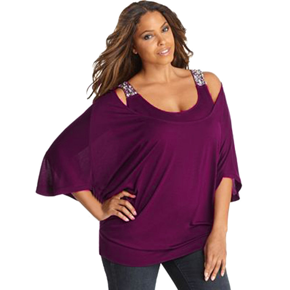 Women 3/4 Sleeve Solid Plus Loose Off-Shoulder Bling T-Shirt Tops Blouse