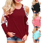 Women Off Shoulder Lace Top Long Sleeve Blouse Ladies Casual Tops Shirt