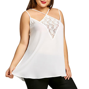 Women Plus Size Lace Patchwork Pullover Sleeveless Vest Tank Shirt Tops Blouse