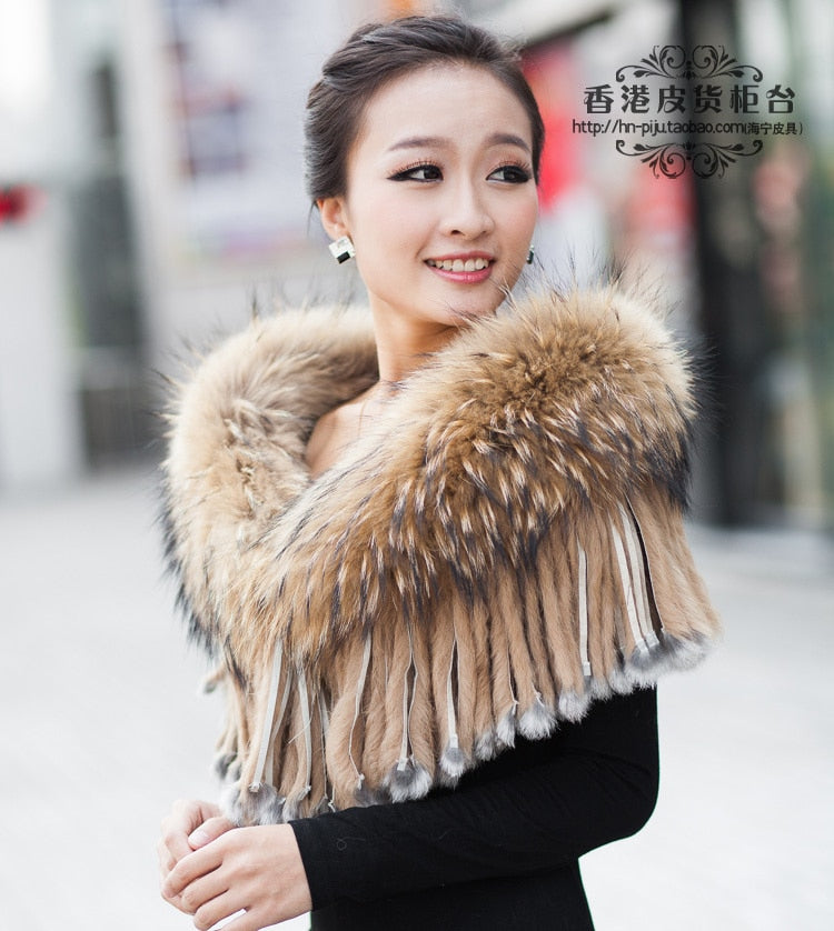 WOMENS STYLISH LARGE SIZE SUPER LUXURY GENUINE/REAL RACCOON FUR CAPES STOLES WITH TASSELS LADIES REAL FUR SCARF WRAPS AMICES