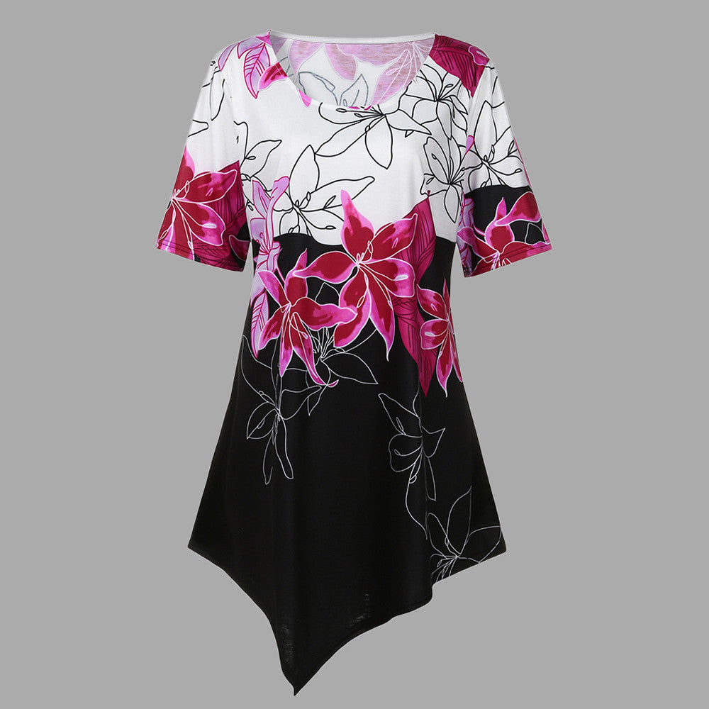 Large Size Women Flowers Printing T-Shirt Short Sleeve Casual Tops Blouse